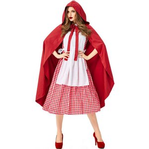 Encapuçado vermelha Cosplay menina de cerveja Maid Halloween Uniforme Manto Plaid vestido de princesa Stage Desempenho Fairy Tale Fancy Dress