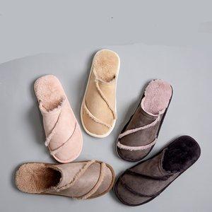 SWYIVY Zapatillas de Mujer Calentador de Piel de Invierno Calzado para el hogar 2018 Invierno Mujer Cómodo Diseño de Pareja de Cuero 44 Señora Velvet Zapatillas