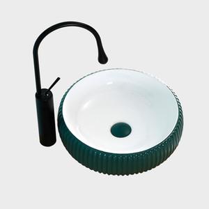 Nordic Green Matte Round Above Counter Basin Ceramic Small Bathroom Washbasin Carved Art Sink Green White Bowl Shampoo Sinks