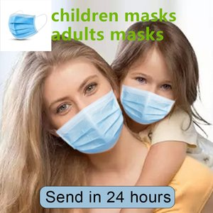 DHL free shipping Disposable Face Masks 3-layers Non-woven Mouth Anti-Dust Earloops Safety reusable Mouth kids Mask mascherine cubrebocas