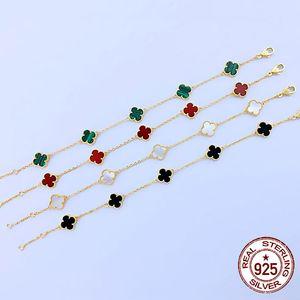 S925 gümüş Mini altı çiçek bilezik yeni dört yapraklı yonca doğal Fritillaria Mini sevimli moda kişilik klasik tarzda takı