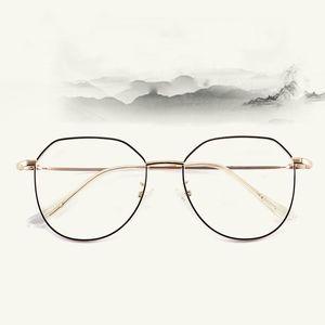 Toptan anti-mavi gözlük erkek düzensiz metal gözlük çerçevesi 9038 retro büyük çerçeve düz ayna kadın gözlük çerçevesi