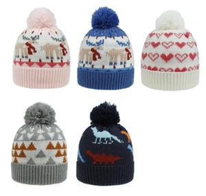 Fashion Children Pom Pom Beanie Christmas Elk Knitted Cap Child Winter Warm Pompom Hats Skullies Beanie Hat Christmas Gift