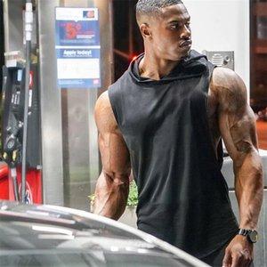 Bodybuilding Tank Top Men Sleeveless Hoodie Sweatshirt Summer Fashion Plain Fitness Singlet Workout Vest Loose Gyms Clothing T200706