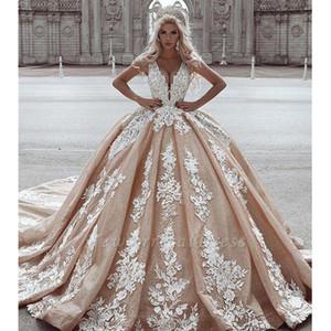 Champagne Sexy Deep-V-Neck vestido de baile vestido de noiva 2020 mangas apliques Trem longo Beidal Vestidos de casamento Robe De Mariee
