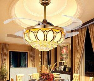 Modern 42 inç gizli bıçak süper sessiz fanı ışık kristal restoran tavan fanı lambası Vogue kablosuz uzaktan kumanda fan lamba MYY