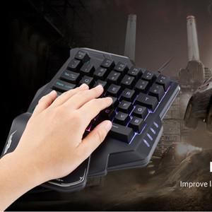 G30 tek elle mekanik klavye 35 tuşları led aydınlatmalı kablolu USB tek el mini oyun tuş takımı 2