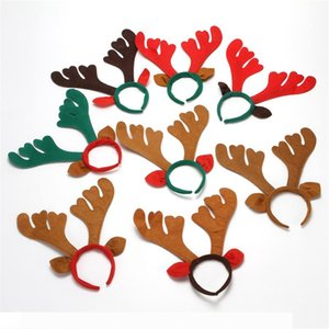 Christmas Head Buckle Elk Hair Hoop Reindeer Antler Headband Deer Horn Kids Adults Hair Accessory Party Festival Decor JK1910
