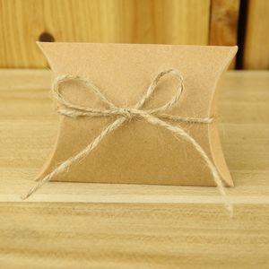 50pcs / lot Favor Şeker Kutusu Çanta Craft Kağıt Yastık Şekli Düğün Favor Hediye Kutuları Kraft Kağıt Parti Kutu Çanta doğum günü partisi Tedarik DBC BH3685