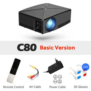 Freeshipping LED Projektör C80 2200 Lümenler 1280x720 P Mini Projektör 3D Ev Sinema Için İsteğe Bağlı C80UP Android WiFi Video HD Beamer