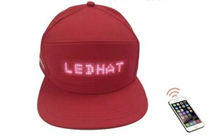 Flash palabra LED publicidad casquillo luz inalámbrica enviar LED sombrero pantalla palabra palabra Bluetooth conexión regalo de cumpleaños