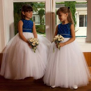 3-10 Years Flower Girl Dresses for Weddings Banquet Dress Girl Beaded Birthday First Communion Dresses Petals Sleeveless Ball Gown
