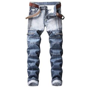 Herren-Jeans Straßen Hip Hop Marke Motorrad Männer Slim Stretch Tide Jeans Plissee Licht gewaschener Male Hose