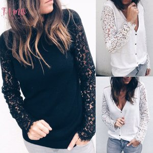 2018 New Elegant Women Long Sleeve Loose Lace Casual Tops Hollow Out Solid T Shirt Slim Fashion Clothes 2 Colors