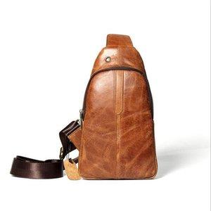 Sac de poitrine en cuir pour hommes Tempérament simple Couleur unie Sauvage Nouvelle mode décontractée Slide Tide Tide Tide Leather Layer Leather Men