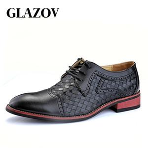 GLAZOV 38-43 Mode Leder schuhe Männer Kleid Schuh Spitzen Oxfords Schuhe Für Männer Schnüren Designer Luxus Männer Formale Schuhe 2018