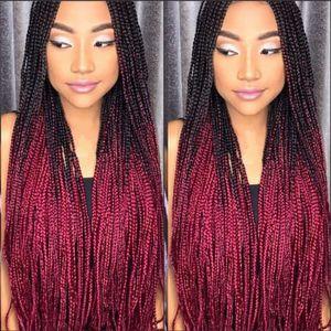 Caja de trenzas larga hecha a mano peluca micro trenza trenza delantera del cordón Ombre rojo peluca de pelo trenzado sintético para África para mujeres negras