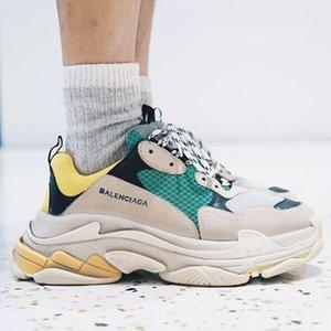 17FW Balèncìaga Triple S Retro Sneaker Mens Fashion Vintage Kanye West Old Grandpa Trainers Design Mens Womens Casual Shoes Chaussures