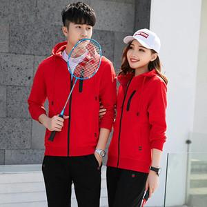 2 adet Kadınlar badminton giyim pamuk takım elbise Eşofman Pantolon spor hırka fermuar bayanlar kadın sweatshirt jimnastik spor adamları çift dış mekan