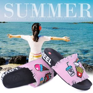 Summer Women Fashion Pvc Shoes Denim Flat Flip Flop Embroidery Size 36-41 Factory Direct Sales Home Shoes