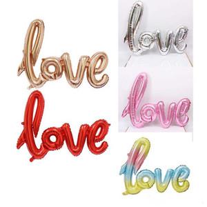 6 cores Amor ligaduras letras de alumínio revestimento Balões 108x64cm Valentines auto-selante balão de casamento festa de aniversário decoração adereços