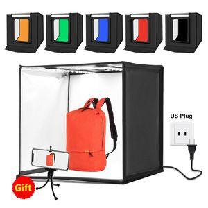 PULUZ Photo Studio Light Box Portable 60 x 60 x 60 cm Light Tent LED 5500K Mini 60W Photography Studio Tent Kit with 6 Removable Backdrop