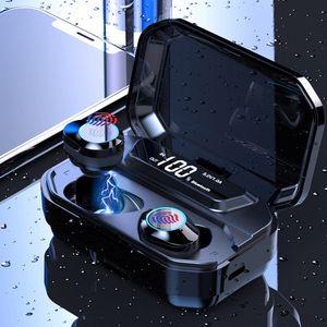 TWS 5.0 블루투스 무선 이어폰 G02 6D 스테레오 블루투스 이어 버드 IPX7 방수 터치 컨트롤 3300mAh 배터리 LED 디스플레이