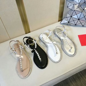 New style women summer fashion pearl belt flip flop flat heel sandals design bow lovely girl holiday beach sandals