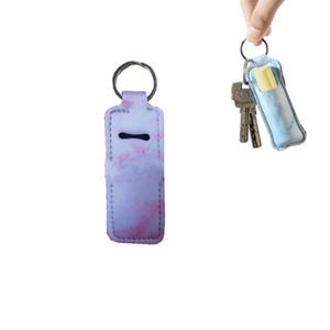 Porte-Chapstick Portable Trousseau Marbre Motif Rouge à lèvres en néoprène Cover Keyring femmes Lip manches Boucle clé pour Party Favors 1 68ny E19