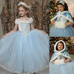 Baby Girl Tutu Lace Ruffled Frozen Dress With Felpa con cappuccio Cape Poncho Fleece e pizzo Princess Puff Shoulder Abiti da festa di Natale Vestiti del bambino