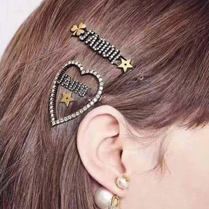 New Arrival Women Designer Letter Hair Clip Bling Bling Rhinestone Letter Barrettes Fashion Hair Accessories 2 Styles