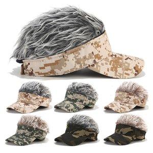 Outdoor Unisex Sport Caps Novelty Adjustable Fake Hair Visor Sun Hat Funny Wig Baseball Cap Chemotherapy Hat hot 2