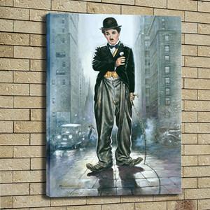 Charlie Chaplin Fan Pittura a olio su tela Immagine dipinta a mano Art Home Decor Wall Art Picture