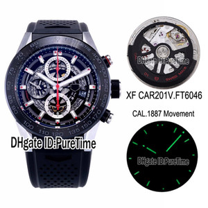 XF CAR201V CAL 1887 Automatic Chronograph Mens Watch Black Ceramic Bezel Skeleton Dial Red Hand Black Rubber Strap Best Edition Puretime A02