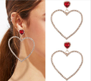 New Arrival Luxury Heart Shape Full Crystal Charm Earrings Stud Earring Girl Party Jewelry Silver Gold Plated