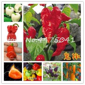 1000pcs De nombreux types Pepper graines de plantes Bonsai géant Chili épicé Bonsai Poivron Carolina Reaper Hot Chilli légumes Bonsai Plante en pot