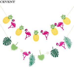 CEVENT 1pc 280cm fenicotteri banner 2 diversi fenicotteri ananas piante tropicali all'aperto decorazione della festa nuziale forniture