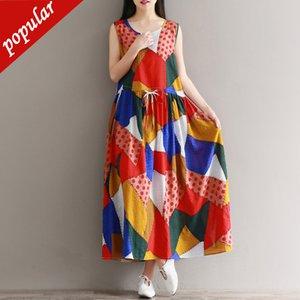 Tank Dress estate delle ragazze dell'annata delle donne del cotone di lino Etnica stampa senza maniche allentati più i vestiti da Boho