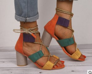 Ready To Ship 2020 New Popular Women's Shoes Color Block Thick Heel Lace Open Toe Color Sandals Drop Shipping