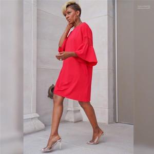 Robe Robes Femmes Mode Été Designer Flare manches en dentelle lambrissé Donna Robes Sweet Ladies Casual