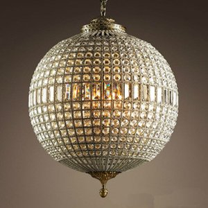 Globe Luxury Crystal Chandelier Vintage Redondo Redondo Colgante Luz Antique Latón Suspensión Luz para sala de estar Cocina Lobby