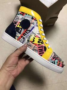 Yüksek Kaliteli Graffiti Patent Deri Yüksek Üst Kırmızı Alt Sneakers Ayakkabı Kadın Erkek Lüks Tasarımcı Düz Rahat Kırmızı Tek Sonbahar Kış eğlence