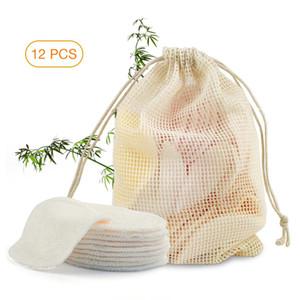 12pcs para quitar maquillaje de ratón reutilizables almohadillas de algodón Maquillaje facial removedor de fibra de bambú de la piel facial del cuidado de la piel de limpieza almohadillas de lactancia