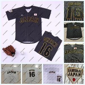 Japón Samurai 16 Shohei Ohtani Negro Rayas blancas Rayas Rayas Jersey de béisbol Película Doble cosido Nombre y número Envío rápido