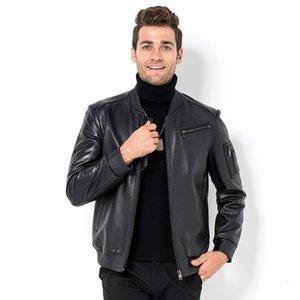 2020 New Mens Genuine Leather Bomber Jacket Pilot Windbreaker Coats Jaqueta De Couro Loose Fit Stand Collar Motor Biker Jackets