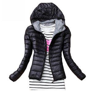 Jacket Outono Inverno Mulheres Básico Brasão Feminino slim com capuz Marca Cotton Coats casacos-pretos casuais