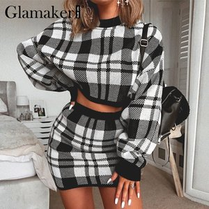 Glamaker Plaid knitted two-piece suit sexy autumn Dress women elegant winter sweater dress Sexy female fashion party short dress CY200522