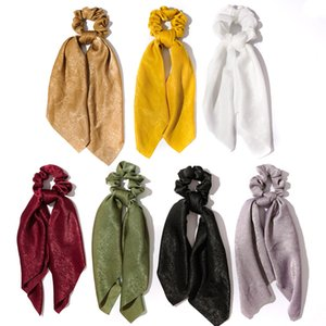 1Pc Solid Color Bow Satin Ribbon Ponytail Scarf Hair Tie Scrunchies Women Girls Elastic Hair Bands Rubber Bands Hair Accessories