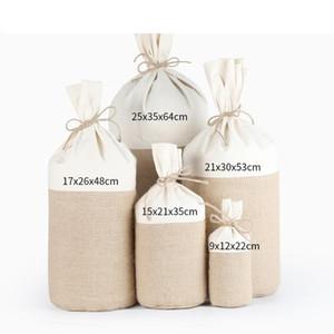 5 Размеров Круглого Bottom зерно Мешки рис джутовой Упаковка Мешок Хлопок Лен Джут ткань Drawstring мешок подарок