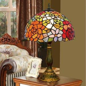 Amerikanische pastorale kreative Lampe Glasmalerei Tischlampe stieg Schlafzimmer Nachttischlampe Tiffany Bar Dekoration Lampen